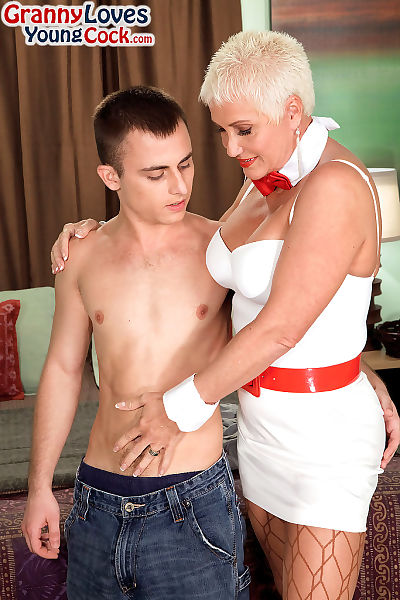 Perspired grandmother with short hair seduces her stud sub instrument in fishnet