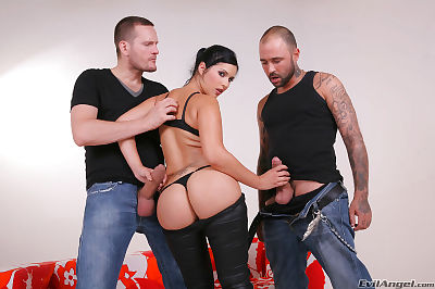 Slutty european fox in stockings acquires her backdoor flexible with double thick boners