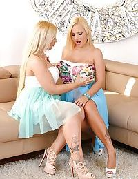 Busty European lesbians Dolly Fox and Kyra Hot lick nipples and pussies