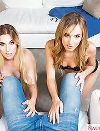 Dirty blondes Jillian Janson & Niki Snow bang cock and eat twat in threesome