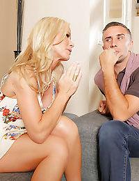 Milf wife Kimberly Kendall enjoys a threesome groupsex with Simone Sonay