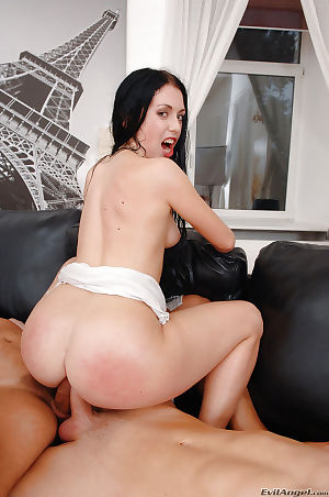 Salacious brunette sweetie gets blow and anally banged by well-hung lads - part 2