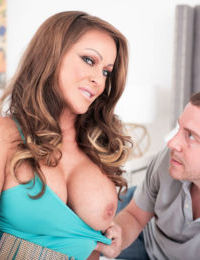 Busty mature lady Nina Dee does anal sex after seducing a younger man