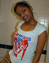 Desi first timer strips naked for a shower before drying herself with a towel