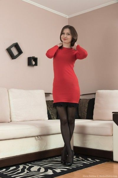 Slava sanina takes off red dress on her couch