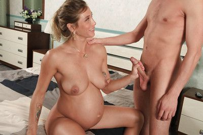 Beautiful blonde mom to be Rita Rush getting jizzed all over her face