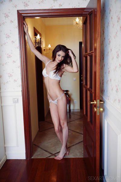 Skinny brunette cutie loves spreading her orgasmic pink slit