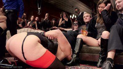This horny bdsm party gathers around gorgeous slave aria alexander