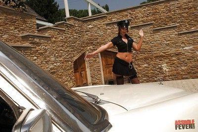 Sexy lady cop Gabriella May gangbanged by three horny studs outdoor