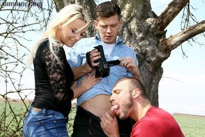 Bisexual men and hot blonde babe in mmf threesome from bimaxx