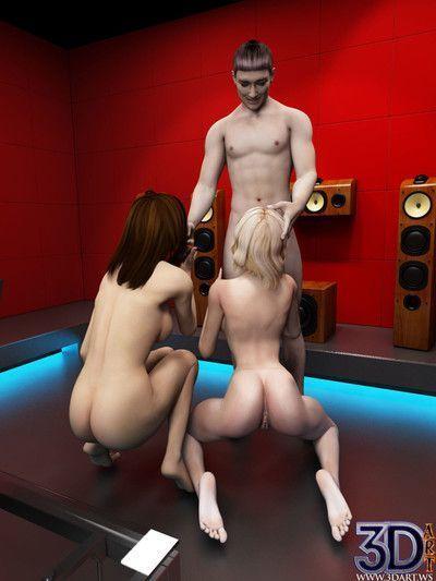 Threesome 3d sex
