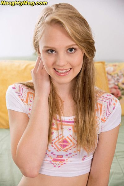 Tiny teen girl Lily Rader stripping down to thong underwear and socks on bed