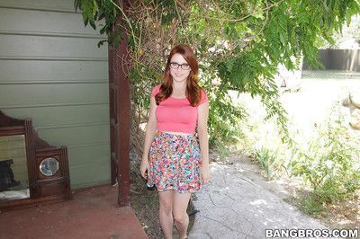 Amateur babe Penny Pax demonstrates her sexy ass in a skirt outdoor