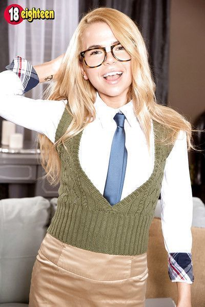 Petite teen Alina West in glasses & uniform with small tits fucking cowgirl