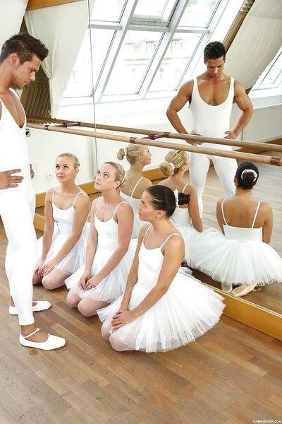 Teen ballerina Evelyn Dellai and gfs bang big dick in reverse gangbang