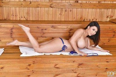 Chesty Asian babe Tigerr Benson removing bikini to masturbate shaved pussy