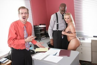 Chubby blonde MILF Katja Kassin riding big black cock in workplace