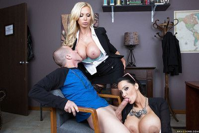 Office babes Nikki Benz and Amy Anderssen service horny dude