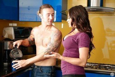 Sexy clothed Claudia Valentine sucks Chad Alva & gets cum on tongue in kitchen