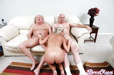 Young pornstar Bree Olson gives two old men blowjobs for cash money