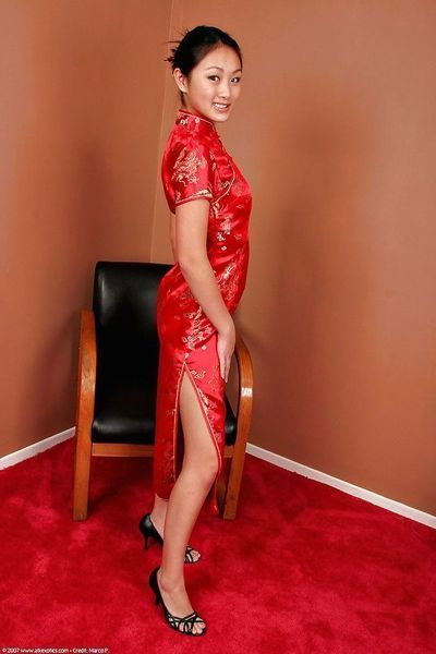 Oriental adolescent Evelyn Lin baring wonderful doll brand diminutive mounds and cool anus