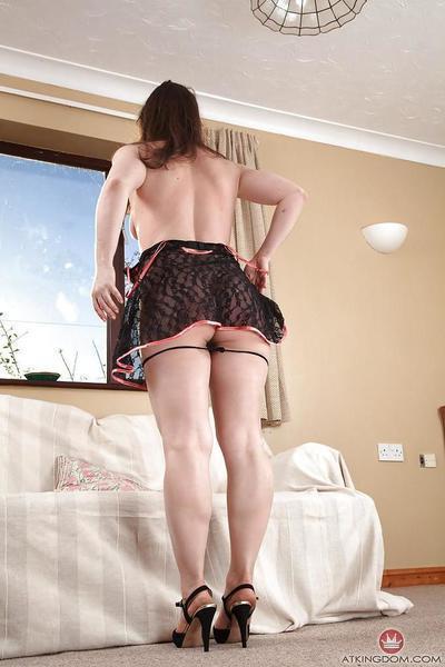 Mature Euro model Olga Cabaeva posing seductively in lingerie