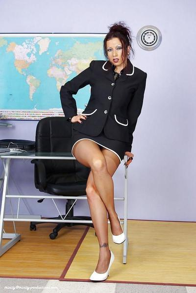 Horny mature secretary sucks and fucks a hard cock in the office
