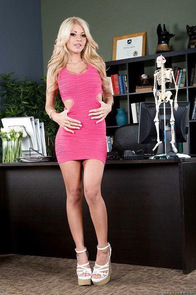 Blonde office babe Kayla Kayden masturbates in tight lingerie
