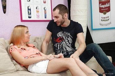 Beautiful clothed teen Chloey is fingered and then gets cum in mouth