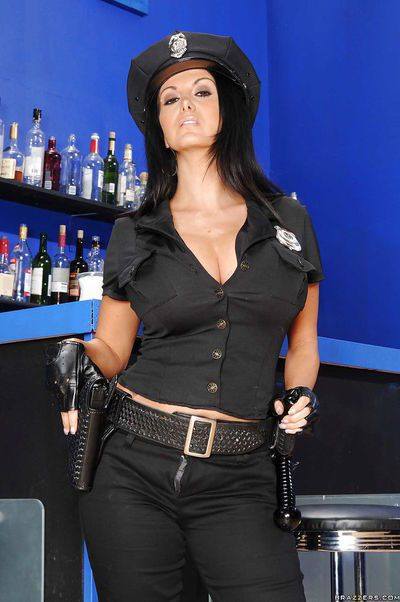 Hot babe in police uniform Ava Addams flashing melons and pussy
