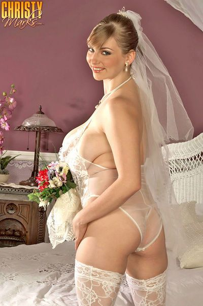 Big tits woman in a wedding dress Christy Marks spreads thighs to show pussy