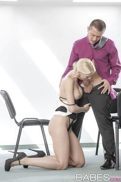 Blonde Swede Lynna Nilsson giving big dick ball licking bj in office