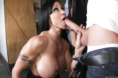 Busty MILF Jewels Jade gets blowbanged and screwed by three studly guys