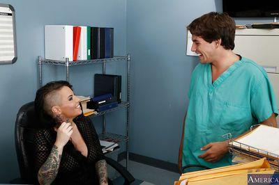 Amazingly hot tattooed office slut gets her hairy twat pounded hardcore