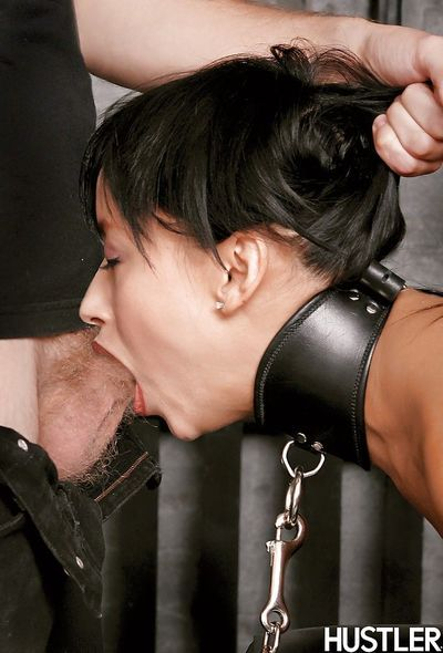 Fetish babe Roxanne is tied tight- gets her pussy fingered and throat fucked