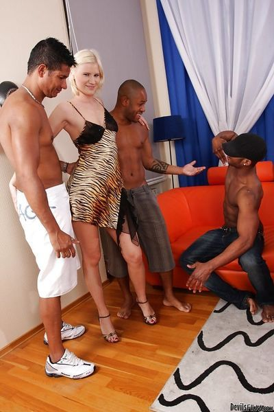 Interracial hardcore gangbang with awesome slutty blonde Kim A