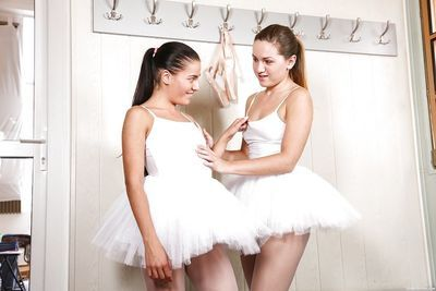 Euro dyke Evelyn Dellai & teen girlfriend remove ballerina outfits before sex