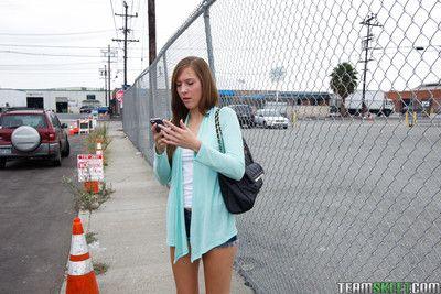 Cute teen molly manson met a stranger because her boyfriend kick