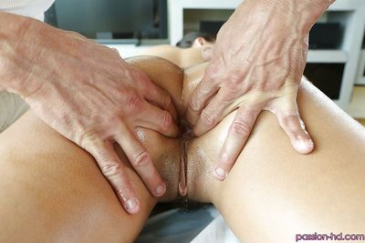 Teenager Adriana Chechik is getting drilled deep in oiled anal