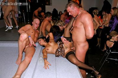 Lascivious lassies going wild at the hardcore party with male strippers