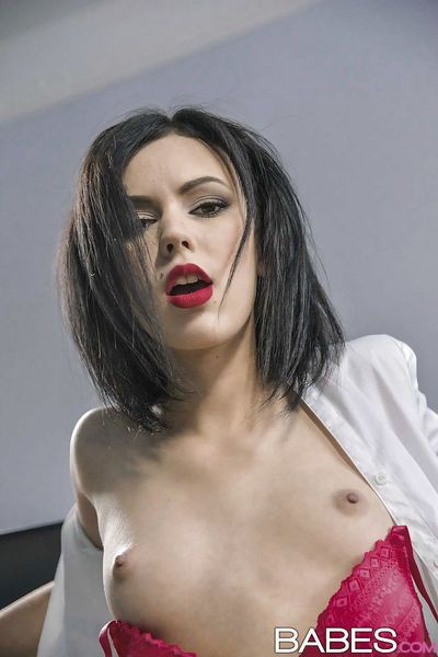 Amazing secretary brunette Sheri Vi was fucked in her shaved pussy