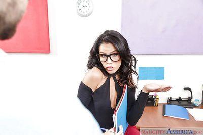 Hot secretary in glasses Megan Rain getting ass fucked on office desk