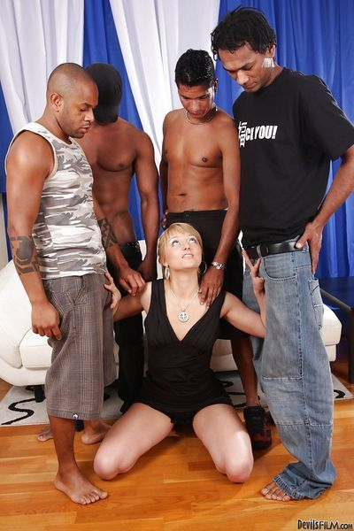 Big black fuckers are drilling slutty blonde Jennie in her anal
