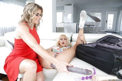 Naughty mom Cory Chase and teen chick Marsha May swapping cum