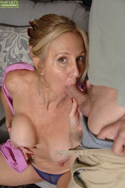 Busty mature slut gives head and gets fucked for cum on her shaved pubis