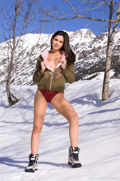 Snow angels double penetrating a brunette girl on a truck at the