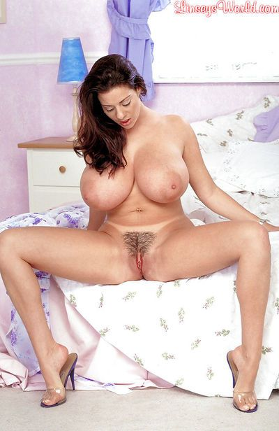 Aged Euro broad Linsey Dawn McKenzie unveiling monster tits and hairy pussy
