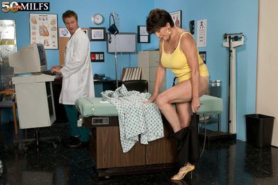 Busty granny Bea Cummins enjoys younger doctor to fuck her brains out