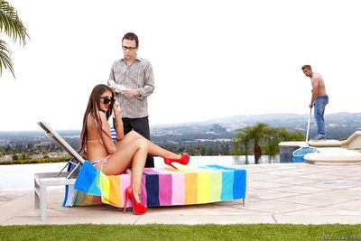 Top notch babe August Ames jerking cock for cash and cum outdoors