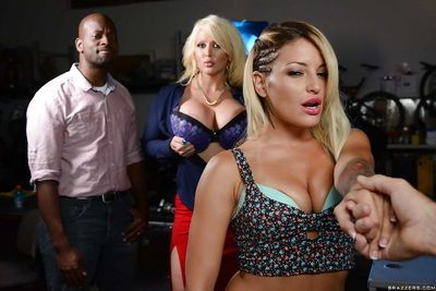 Pornstar Kissa Sins wraps her lips around long cock and swallows jism